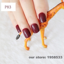 2016 Fashion Candy Dark Brown Office False Nail Art Tips Fake Nails Decoration Patch Manicure Tips Accessory Daily Use P83