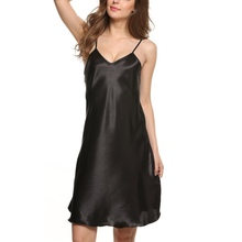Women's Nightshirts Satin Chemises Comfortable Slip Sleepwear Hot Stylish(China)