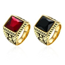 New 2016 Trendy Brand Jewelry Vintage Accessories Red / Black Crystal Carving Stainless Steel  Gold Rings For Men