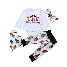 2017 New Hot 4Pcs Baby Boy Girls Letter Tops Romper Clothes Sets Christmas Party Clothing Wear Romper Long Pants Hat+Headband(China)