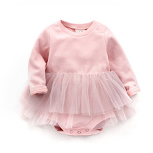 Baby Girl Dress Newborn Baby Girl Dress Cotton Baby Rompers For girls Kids Infant Clothes pink lace Baby Girls Dresses(China)