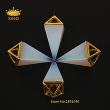 2016 Hot Sale Natural Opal Stone Triangle Cone Plated Gold Charms Pendant,New Opal Pendulum Circular Cone Charms Pendant FR07