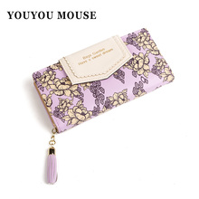 New High Grade Women PU Leather Wallets Flower Design Phone Purse Fashion Ladies Clutch Money Bag Business Card Wallet ID Holder