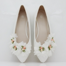 Fashion flats for women shoes flowers flats casual shoes weeding flats white wedding shoes flat heel for women 2017