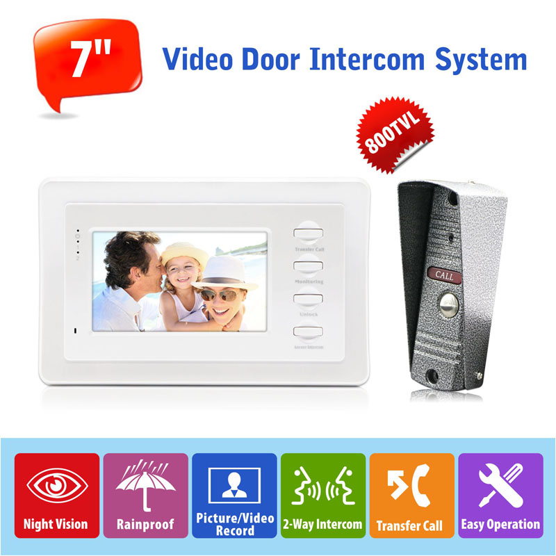 7 Monitor Color Video Door Phone Intercom System Support SD/TF Card Recording, Compatible with Door Lock and Indoor Unlock<br><br>Aliexpress