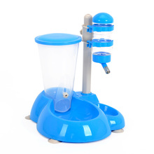 Two Usage Pet dog cat water food fountain container dispenser dog puppy drinking bottle feeder Automatic dog food feeder