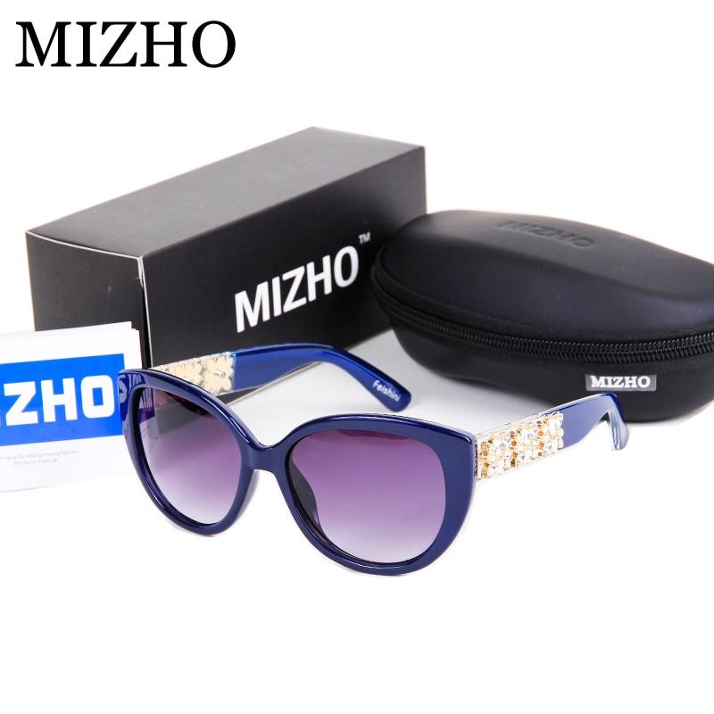 MIZHO Brand Latest European Popular Big Box Of Artificial Crystal Embellishment REVO HD Sunglasses Women Cat eye Vintage 2016<br><br>Aliexpress