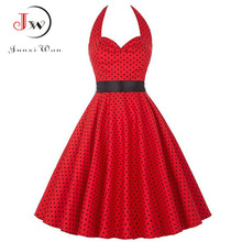 Women Summer Polka Dot Vintage Dress Fashion Party Office Lady 50s 60s Rockabilly Big Swing Halter Dresses Tunic Vestidos