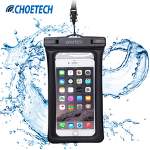 CHOETECH Clear TPU Inflatable Waterproof Mobile Phone Bag with Strap Dry Pouch Cover for Samsung Galaxy S7 Swimming Cases(China)