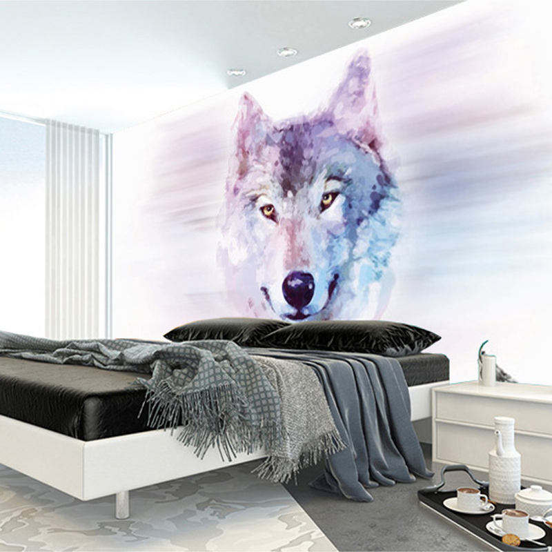 Custom 3D Stereo Large Mural Wolf Totem Animal Wallpapers Bedroom Living Room TV Background Wall Covering Non-woven Wallpaper<br><br>Aliexpress