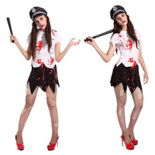 Halloween Bloody Terrorist Policewoman Uniforms Dead Cosplay Clothing Adult Women Halloween Vampire Zombie Cosplay Clothing(China)