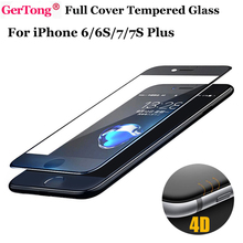 4D Round Curved Edge Tempered Glass For iPhone 6 6S 7 Plus 4.7 5.5 inch Full Cover Screen Protector Phone Cases Protective Film