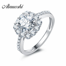 AINUOSHI Luxury Floral Cushion Shape Round Cut Halo Wedding Ring 925 Sterling Silver Fancy Ring Square Engagement Bridal Band