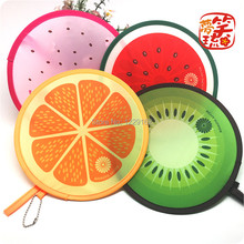 Free shipping (4pcs/lot)Nylon Portable Folding Fan for party gift Fruit Frisbee Fan cool summer lovely hand fan/Flying disk(China)