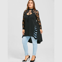 Buy CharMma 2018 New Fashion Plus Size 5XL Lace Long Sleeve Long Shirt Women Autumn Gothic Trim Ripped Tunic Top Female Big Size for $12.38 in AliExpress store