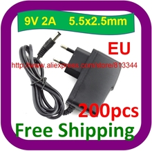 High quality IC solutions Free Shipping 200pcs/lot  DC 9V 2A Power Supply Adaptor 9V Security Converter Adapter EU Plug