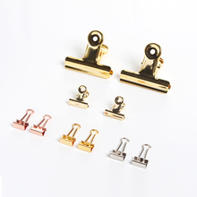 Cute metal office school papers clips stationery supplies,gold color paper organizer clips set ,2 pcs(China)