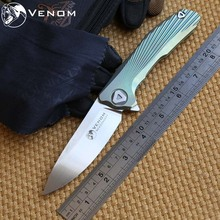VENOM 3 New Concept KEVIN JOHN  Folding ceramic ball bearing Flipper Knife S35VN blade Titanium camp hunt survival knives tools