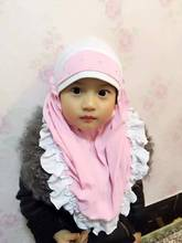 Fashion Islam children's scarf cap high quality Turkish muslim inner hijab for kids flower headwear girl's caps 7 colors(China)