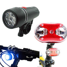 B2 Long lasting Bicycle Bike 5 LED Front Head Torch Light 9 LED Back Rear Tail Flashlight Lamp Accessories Retail&Wholesale