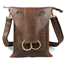 Fashion personality vintage crazy horse leather handmade bag casual genuine leather man bag male one shoulder cross-body bag