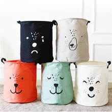 2017 Cute Kids Toys bag bins Organizer Large cloth Laundry basket barrel Sundries toy Box Storage Bags container decor(China)
