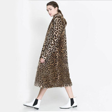 Winter new women fashion faux mink coats Suit turn-down collar lengthen section overcoat Sexy leopard rabbit fur parka Plus size