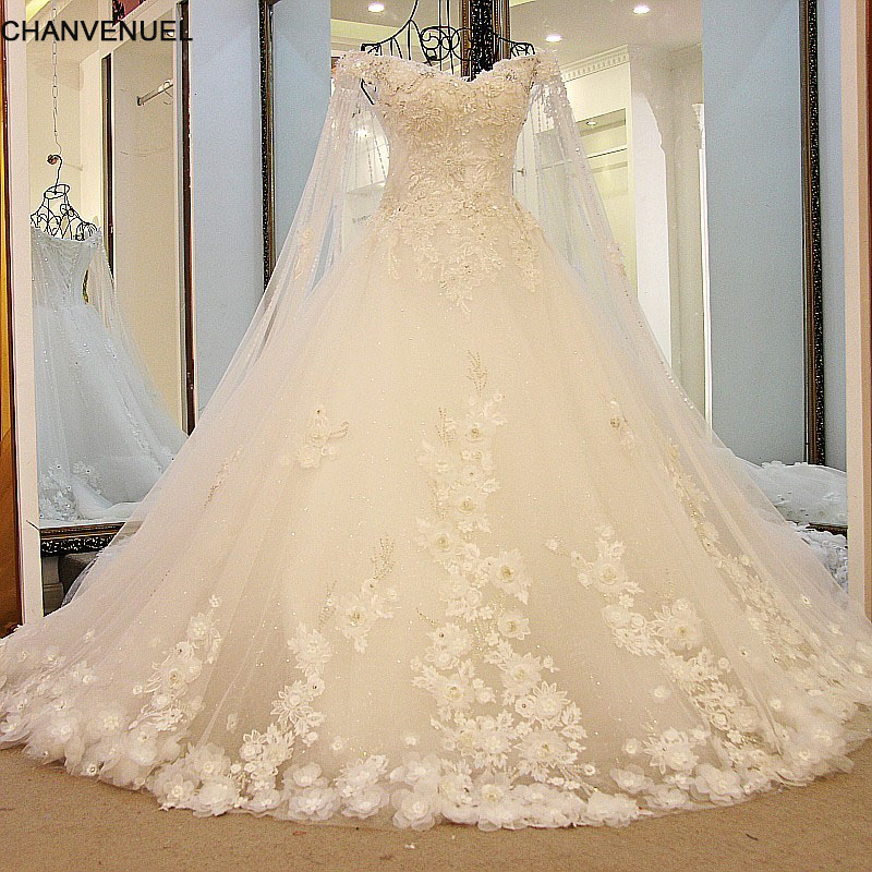 LS65710 Luxury Wedding Dress 2017 Princess With Long Cape Lace Corset Back Lace Robe De Mariee Alibaba China Real Photos(China)
