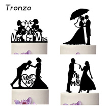 Tronzo New Romantic Black Acrylic Cake Topper Mr Mrs Lover Cake Decorating Supplies For Wedding Decoration Valentine's Day(China)