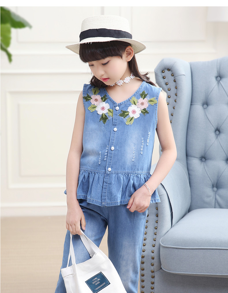 3-12 y summer girls clothes set denim outfits fashion sets for girl sleeveless embroidery top flared trousers children\`s sets (5)