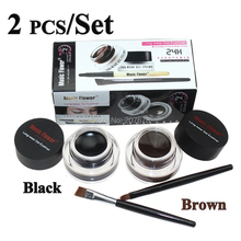 Best Seller 2 in 1 Brown + Black Eyeliner Gel Make Up Waterproof Cosmetics Set Eye Liner Makeup Eye Free Shipping(China)