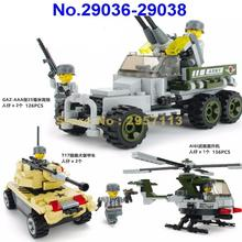 29036-29038 Military Army Attack Helicopter Armored Car Panzer Antiaircraft Gun Building Block Brick Toy