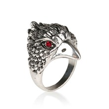 Atreus Punk Animal Ring Fashion Eagle Head Plating Silver Vintage Jewelry Inlay Black Crystal Rings For Man Wholesale Jewelry(China)