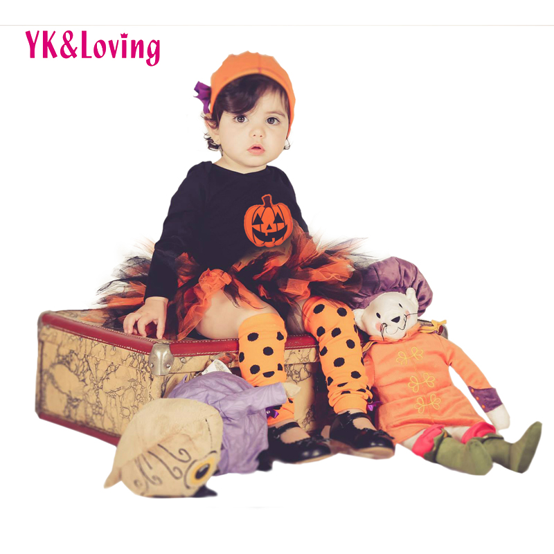 Baby Girl Halloween Clothing Sets Pumpkin Black Romper+Tutu Skirt+Hat+Socks Infant 4Pcs Set Toddler Jumpsuit Costumes<br><br>Aliexpress
