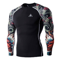 T-shirts Men's Digital Printing Fitness Quick-drying Clothes Wear Long Sleeve Tattoo T shirts Man Fitness Clothing Male Tops XXL(China)