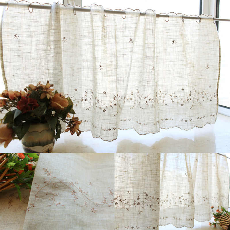 European style small flower embroideryed kitchen curtain short curtain linen curtain for kitchen window 3 sizes