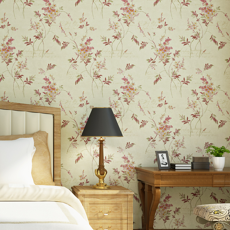 American Style Flower Wallpaper Sitting Room Bedroom Restaurant Background Birds Fragrance Fresh Wall Paper Roll<br>