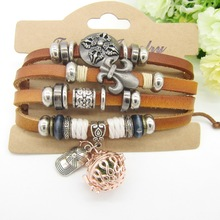 Brown Leather Straps with Nice Metal Charms Women`s Essential Oil Diffuser Bracelet Fashion Leather Jewellery(China)