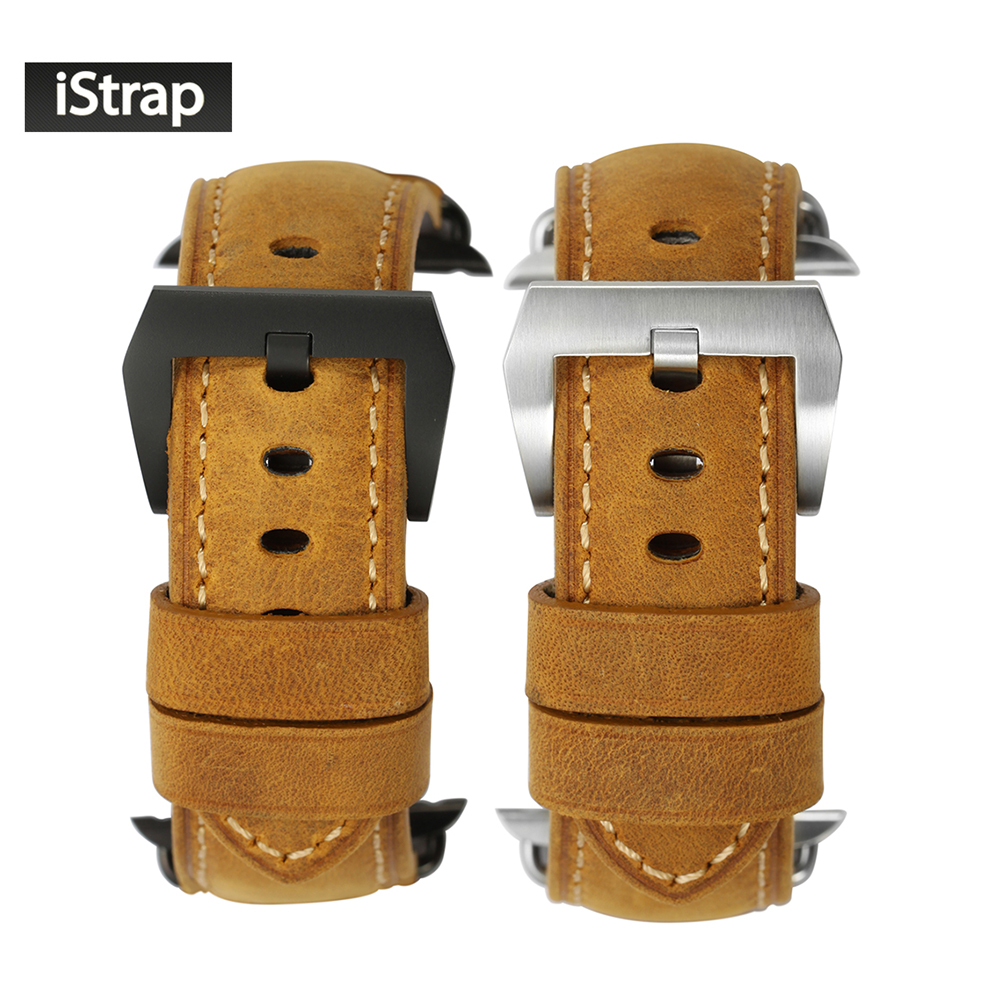 iStrap 42mm Brown Handmade Assolutamente Strap For iWatch Vintage Genuine Leather Band For Apple Watch Series 1 and Series 2<br>