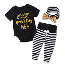 2017 new baby sequins headwear + letter tops + striped trousers 3 set children's clothing children's clothing(China)