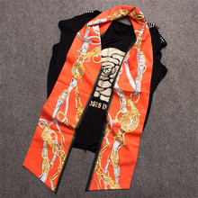 MENGLINXI 200x18cm Bag Twilly 2017 Brand Print Headband Handle Bag Ribbon New Fashion Long Scarves Small Silk Scarf For Women