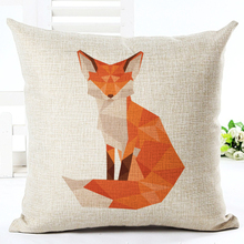 2016 New Arrival Diamond Fox Print Home Decorative Bed Cushion Throw Pillow Case Vintage Cotton Linen Square Pillows