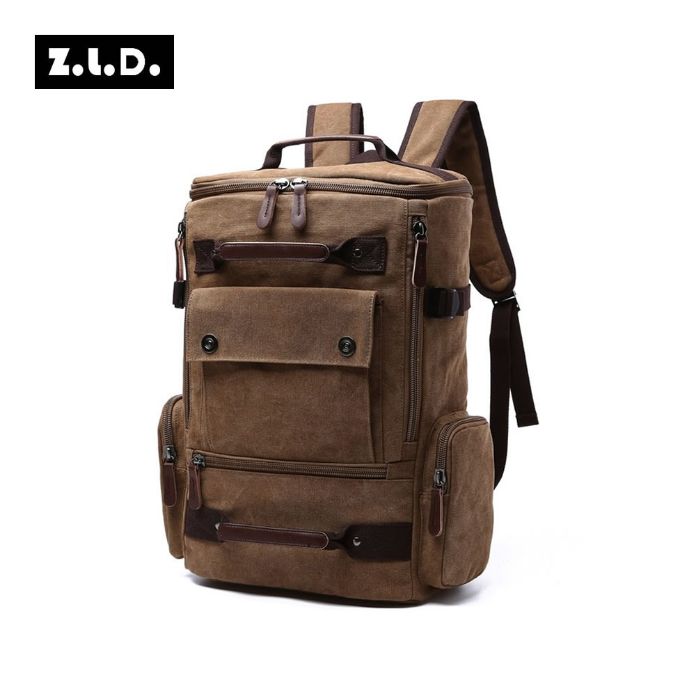 Z.L.D Canvas Mens Backpack Carry on Luggage Bag Multifunction Business Travel Backpacks Teenager School Bag Large Overnight Bags<br>