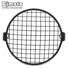 6.5 inch Metal Motorcycle Front Headlight Lamp Mesh Grille Cover Mask Square Grid For Harley Kawasaki KTM Honda Cafe Racer Parts(China)