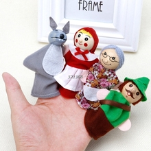 4Pcs Little Red Riding Hood And Wolf Fairy Story Play Game Finger Puppets Toys(China)