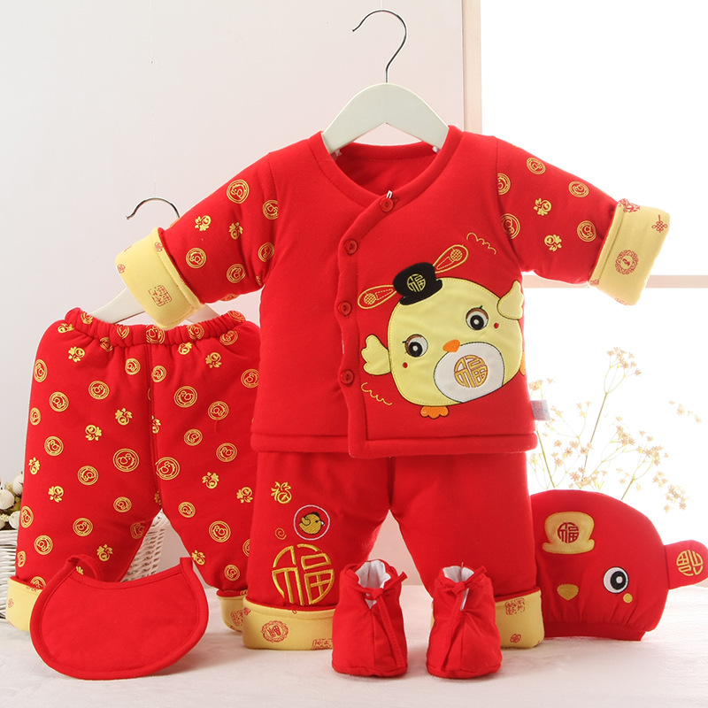 Baby cotton warm suit six sets of red festive baby clothes 0-6M<br>