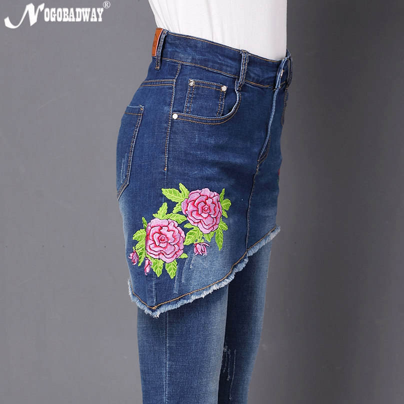 Plus Size Patchwork Stretch Floral Embroidery Jeans Women Fake Two Sets Women Slim Pencil Denim Pants Trousers 2018 Autumn New