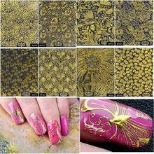 8pcs/Set Embossed 3D Tips Gold Metallic Blooming Flower Design Self-adhesive Nail Art Stickers Decals Decoration Manicure Tools(China)