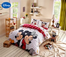 Cartoon Disney Print Bedding Set Cotton Rosy Polka Dot Mickey and Minnie Mouse Bedclothes Duvet Cover Girls Bedroom Decor Single