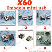 Free shipping 60pcs/lot 6models Mini USB connector B type 5pin SMT/DIP USB socket female jack 2.0